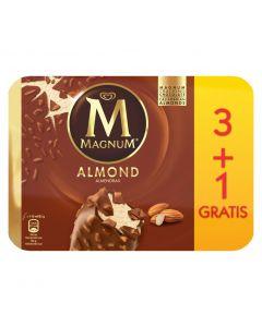 Helado bombón con almendras magnum frigo pack de 3 unidades +1 de 440ml