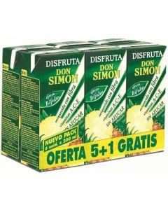 Néctar de piña sin azúcar disfruta don simón pack de 6 unidades de 20cl