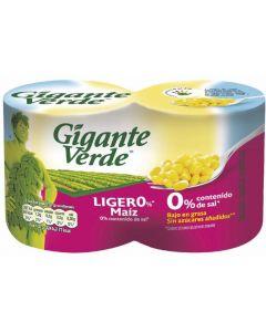 Maíz ligero gigante verde lata pack de 2 unidades de 480g