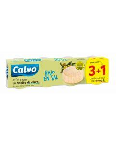 atún claro bajo en sal oliva calvo pack de 3 unidades+1 de 52g