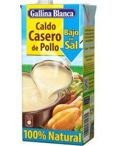 Caldo casero bajo en sal de pollo 100% gallina blanca 1l