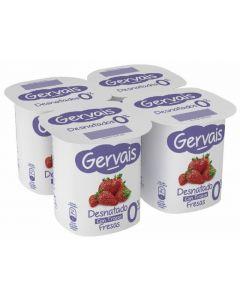 Yogur 0% de fresa gervais pack de 4 unidades de 125g
