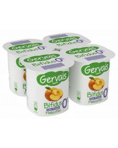 Yogur bifidus 0% con melocotón gervais pack de 4 unidades de 125g