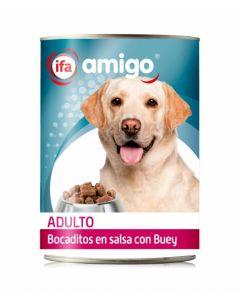 Comida húmeda para perros con buey ifa amigo 1,23kg