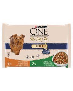 Comida húmeda para perros adulto de pollo y cordero one my dog pack de 4 unidades de 100g