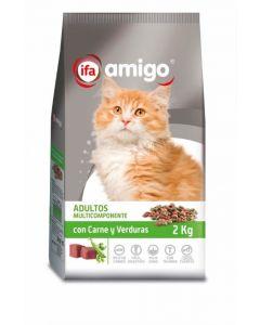 Comida seca para gatos con carne y vegetales ifa amigo 2kg