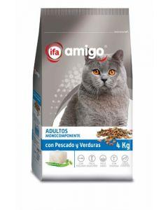 Comida seca para gatos con pescado y verduras ifa amigo 4kg