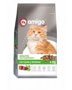Comida seca para gatos con carne y vegetales ifa amigo 4kg