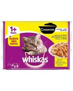 Comida húmeda para gatos casserole ave whiskas pack de 4 unidades de 85g