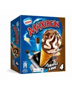 Helado cono maxibon triple chocolate nestle p4x110ml