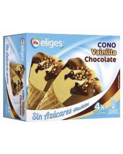 Helado cono de vainilla y chocolate sin azúcar ifa eliges