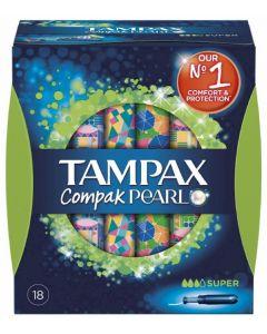 Tampones super tampax compak pearl pack de 18 unidades