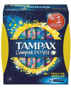 Tampones regular tampax compak pearl pack de 18 unidades