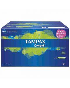 Tampones super tampax compak pack de 36 unidades