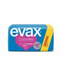 Compresas con alas normal evax cottonlike pack de 32 unidades