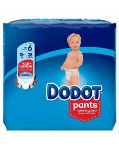 Pañal braga talla 6 +15kg dodot pants pack de 28 unidades