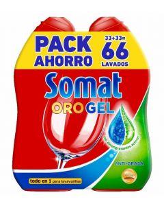 Lavavajillas a máquina en gel antigrasa somat 2x35 dosis