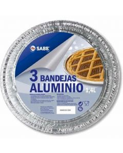 Bandeja de aluminio redonda con blonda ifa sabe pack de 3 unidades