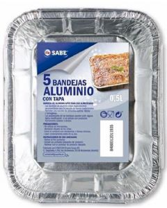 Bandeja de aluminio 0,5 litros ifa sabe pack de 5 unidades