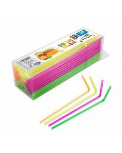 Cañitas flexibles neon maxi 21cm 150ud