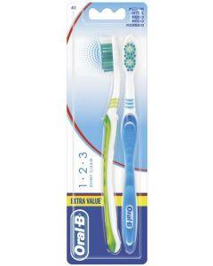Cepillo de dientes 123 shiny clean medio pack de 2 unidades oral-b