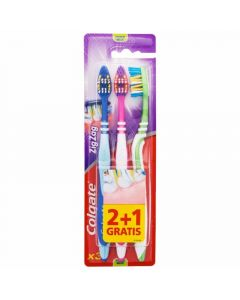 Cepillo de dientes medio pack de 2+1 unidades zigzag colgate