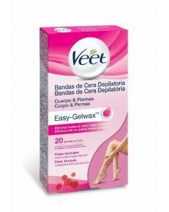 Bandas de cera depilatoria fría corporal piel normal easy wax veet pack de 20 unidades