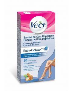 Bandas de cera depilatoria fría corporal para piel sensible easy wax veet pack de 20 unidades