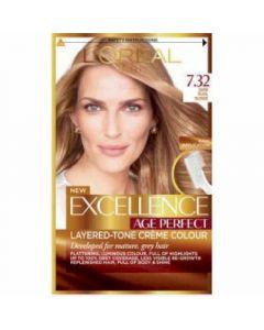 Coloración rubio dorado perla 7.32 excellence age perfect loréal