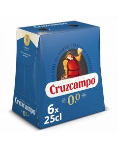 Cerveza sin alcohol cruzcampo 0,0% pack de 6 unidades de 25cl