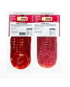 Chorizo y salami extra mas lonchas pack de 2 unidades de 75g