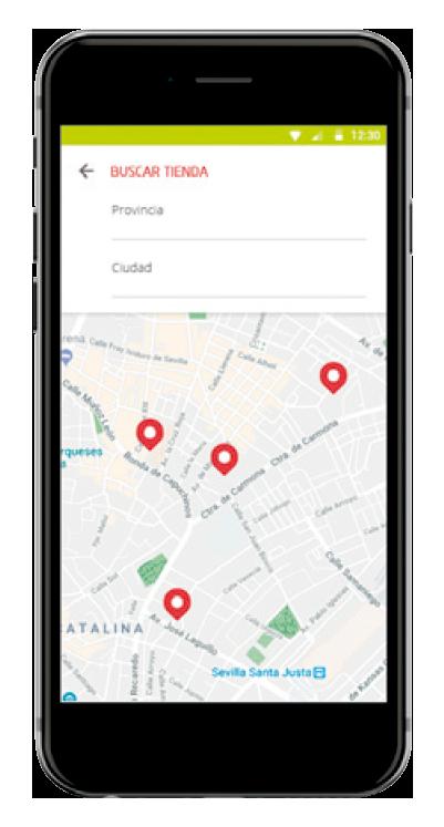 Detalle App Club MAS Buscar tienda