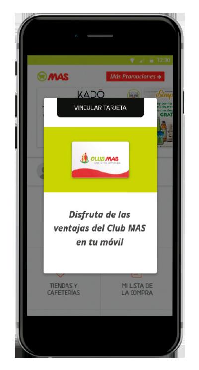 Detalle App Club MAS vincular tarjeta