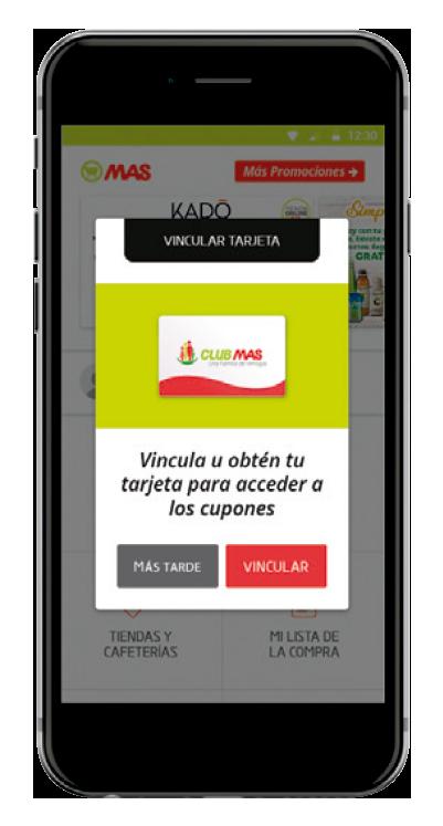 Detalle App Club MAS Vincular Tarjeta para acceder a los cupones